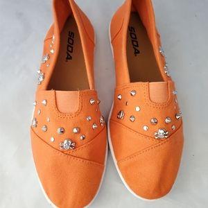 Soda/ Orange Skull Slip On Shoes